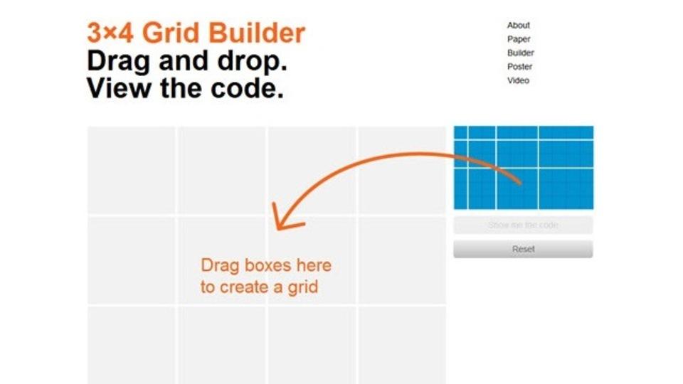 グリッドデザインのHTML/CSSを簡単に作れるサイト「3×4 Grid Builder」