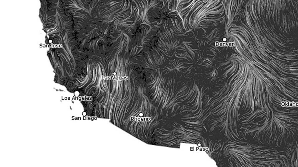美しさすら感じる! 風の動きをリアルタイムで観測できる「Wind Map」