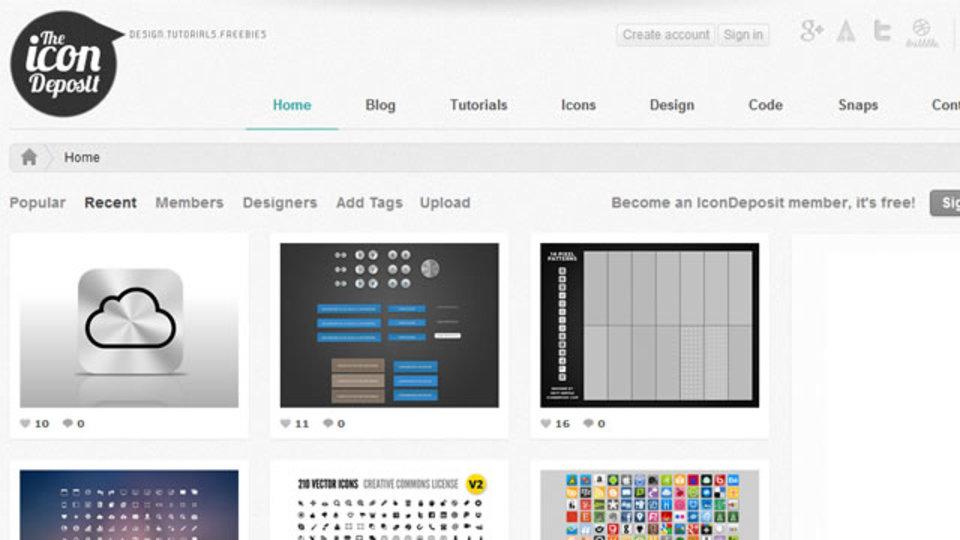 無料でハイクオリティなアイコンやデザインの素材が手に入るサイト「IconDeposit」