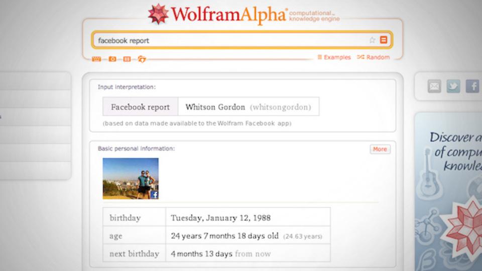 「Wolfram Alpha」がFacebookアカウントの解析機能を公開して、ちょっとこわい