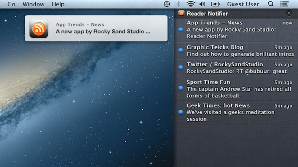 OS Xの通知センターをフィードリーダーとして活用できる『Reader Notifier』