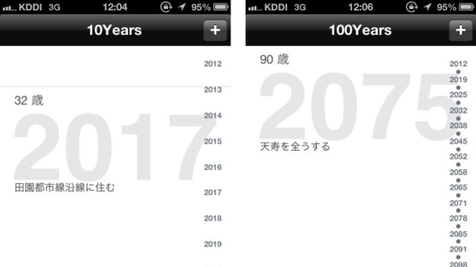 100年先までの夢や目標を入力できるiOSアプリ
