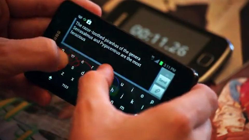 親指も使ってテキスト入力する世界最速の英文用Androidキーボード『Keymonk』