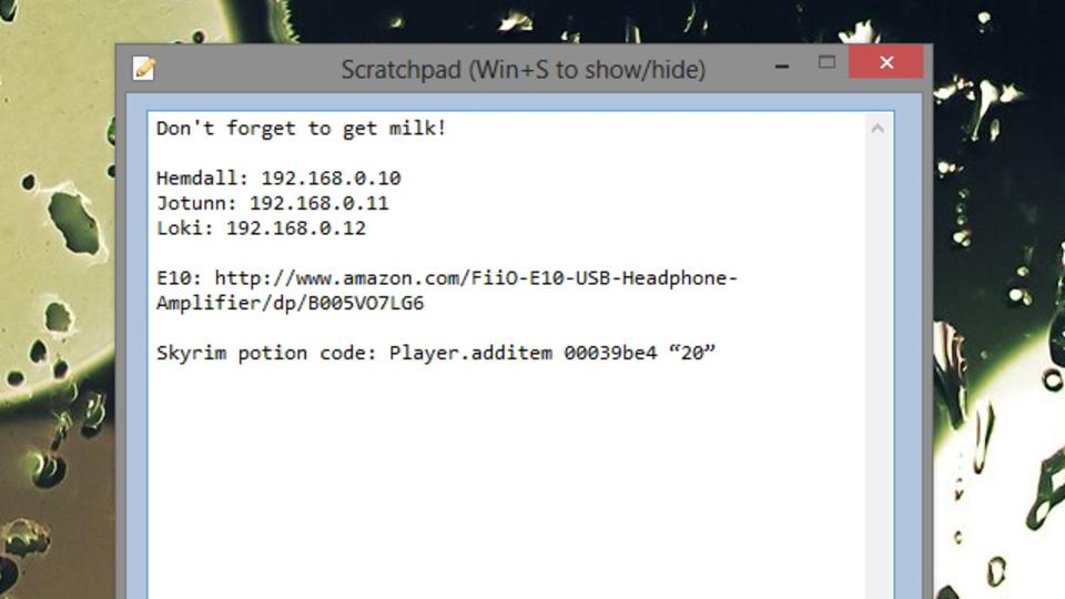キーストローク一撃でサクッとメモが取れる快適メモアプリ『Scratchpad』