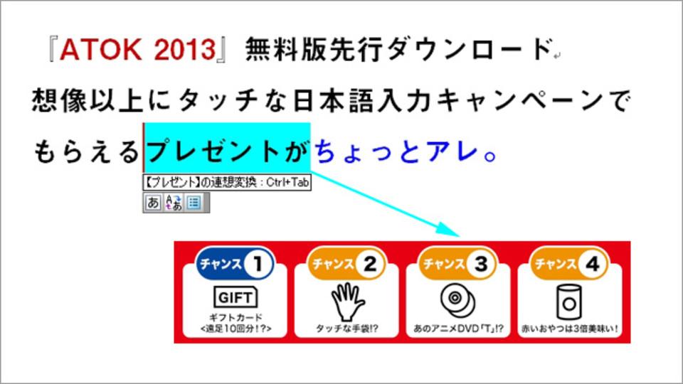 「ATOK 2013」の無料試用キャンペーンでタッチな(?)プレゼントが当たる