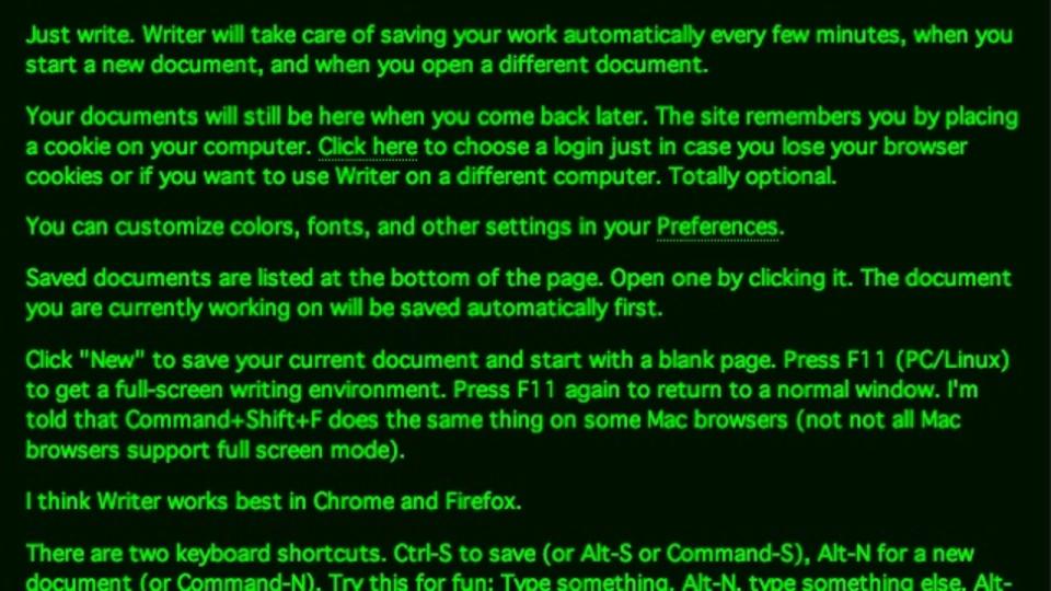 真っ黒画面に緑文字がクール! オンラインテキストエディタ『Writer』