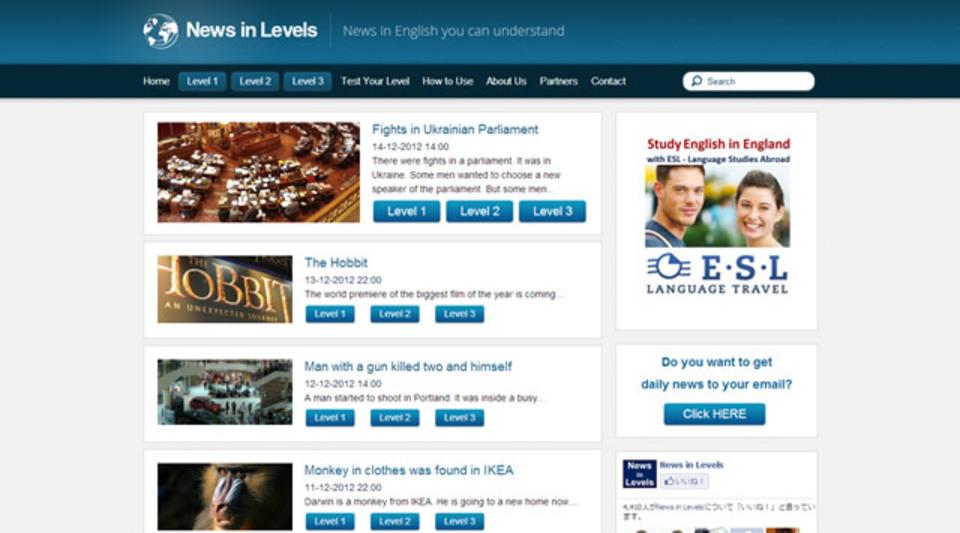英語力にあわせて同じニュースを読み分けられるサイト「News in Levels」