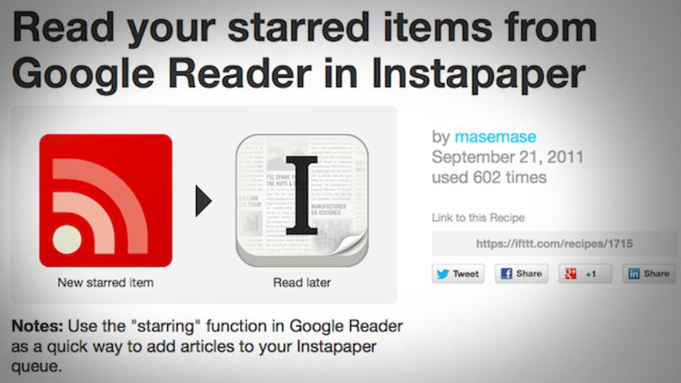 Google リーダーでスターを付けた記事を「あとで読む」アプリへ自動的に送る方法