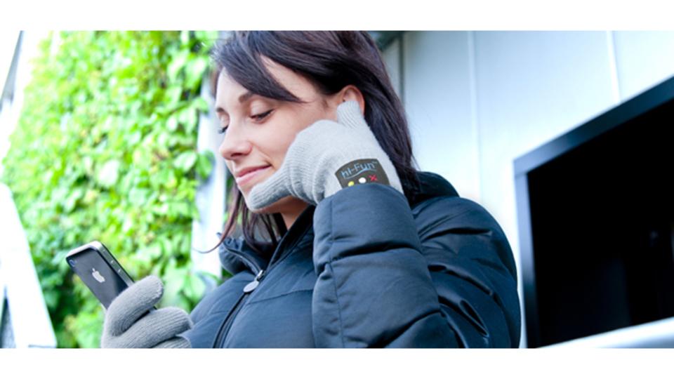 自分の手が受話器になる手袋「hi call」