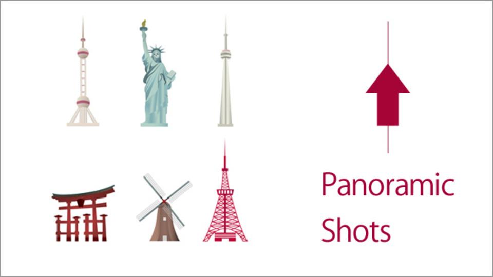 iPhoneのパノラマ・モードを使えば、高い建物を下からテッペンまで写せる