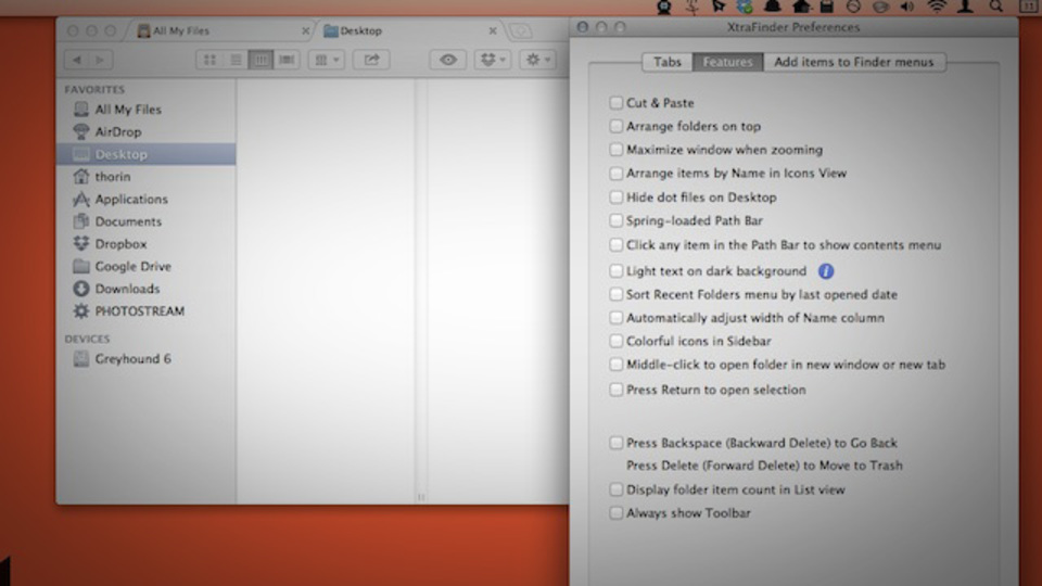 ファイル管理が快適に! Finderにタブ機能などを追加できる『XtraFinder』