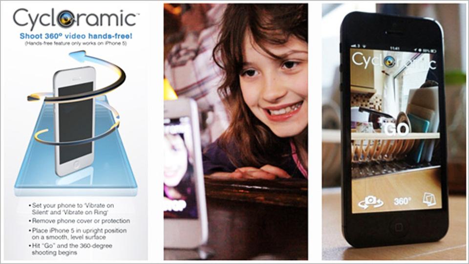 iPhoneを振動で回転させて360度撮影ができるアプリ『Cycloramic』