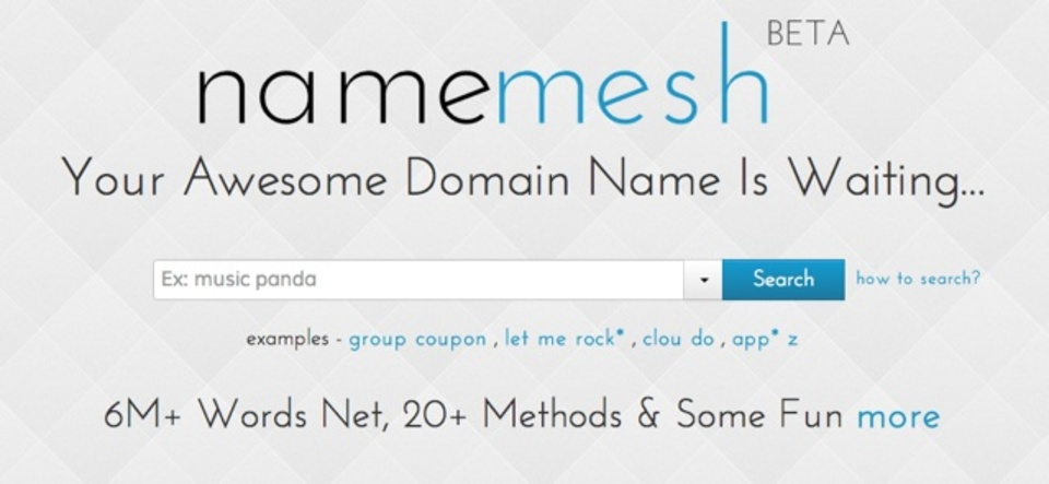 キーワードを入力するとおすすめのドメイン候補を挙げてくれるサービス「NameMesh」