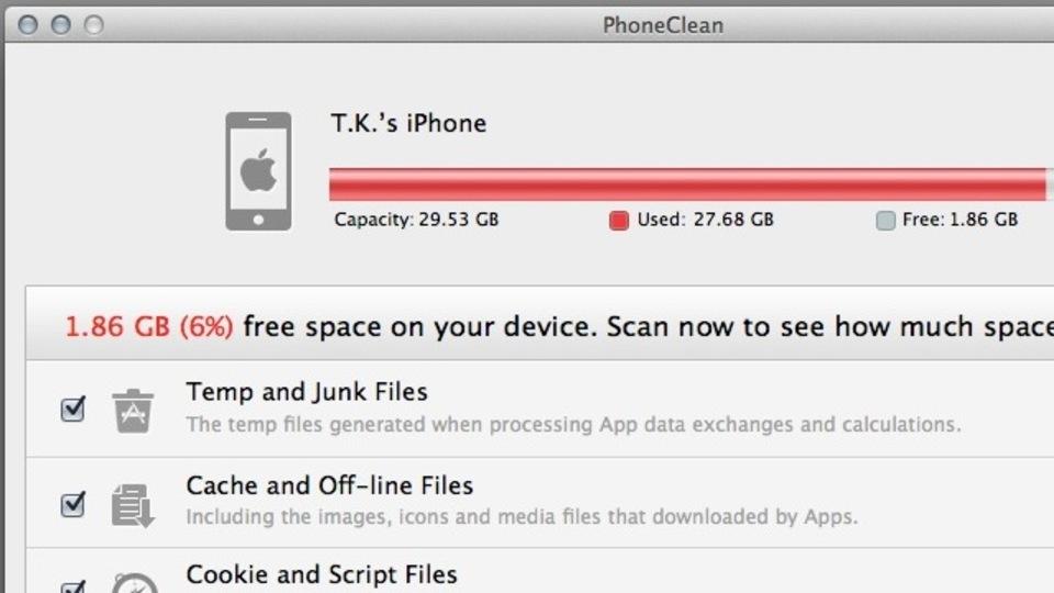 iOSデバイスの無駄なデータを見つけて削除してくれるアプリ『PhoneClean』