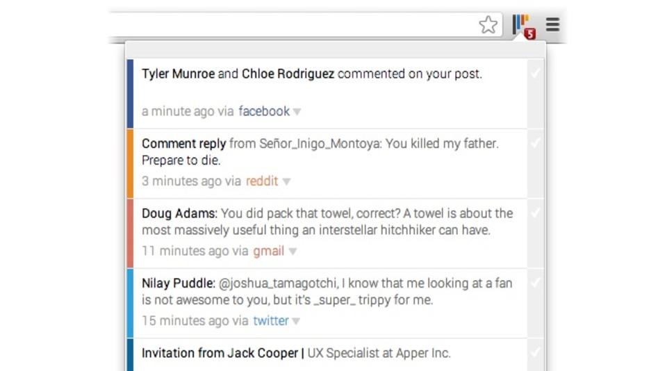 GmailやFacebookなどの新着通知をまとめて管理できる拡張機能「Chime」
