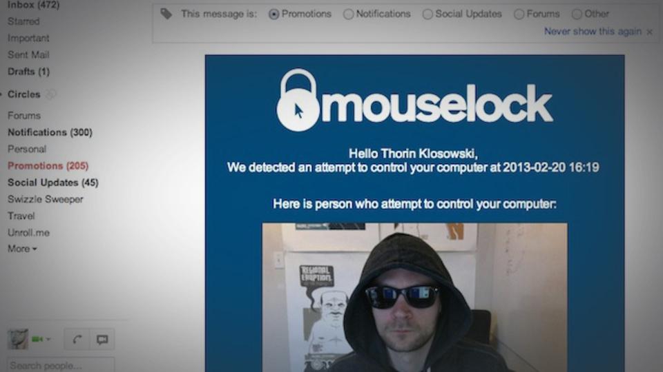 自分以外の誰かがPCを触ったら、写真を撮影してメールで送ってくれるアプリ『Mouse Lock』