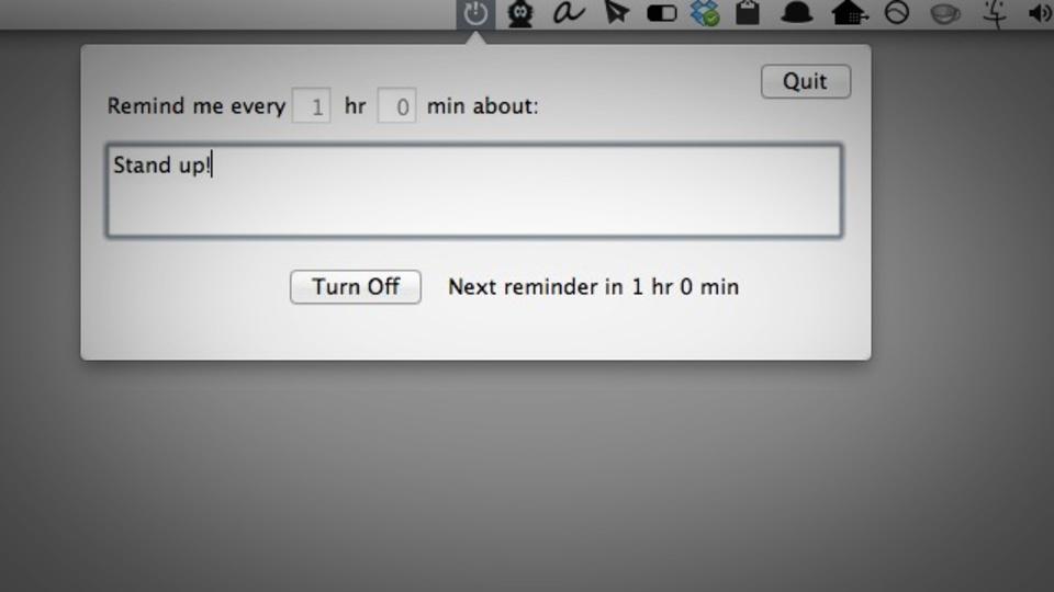 Macのメニューバーにシンプルなリマインダーを常駐させる『RemindMeAgain』