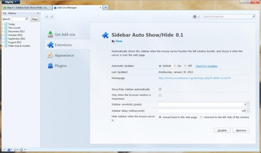 Firefoxのサイドバーを自動で隠せるアドオン「Sidebar Auto Show」で画面をより広く使える