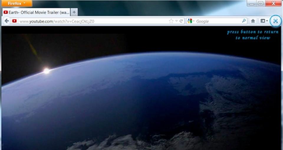 ワンクリックでYouTube動画をブラウザの画面全体に表示できるアドオン「TabCinema」