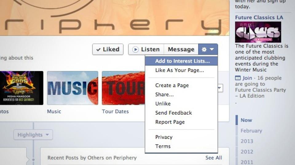 Facebookページに「いいね!」したことを知られずに、情報だけを受け取る機能