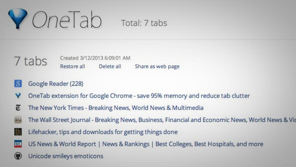 開いている全てのタブを1クリックでリスト化できるChrome用拡張機能『OneTab』
