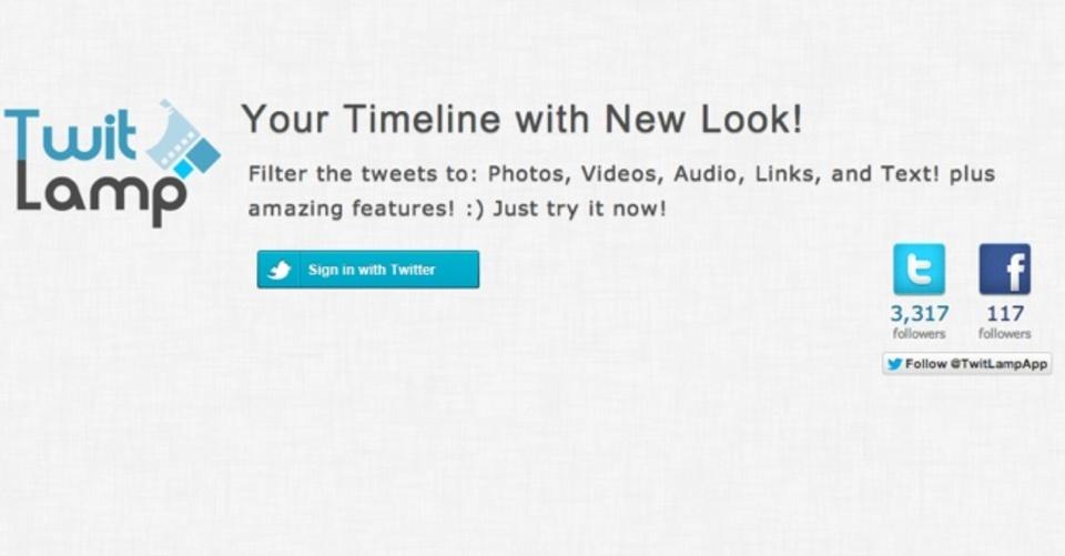 Twitterのタイムラインを写真別、動画別に閲覧できるサービス「TwitLamp」
