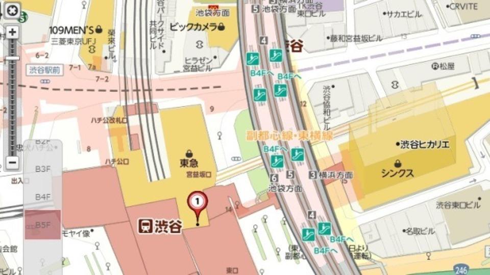 Yahoo!地図が渋谷駅構内マップを改装後バージョンにしていた!