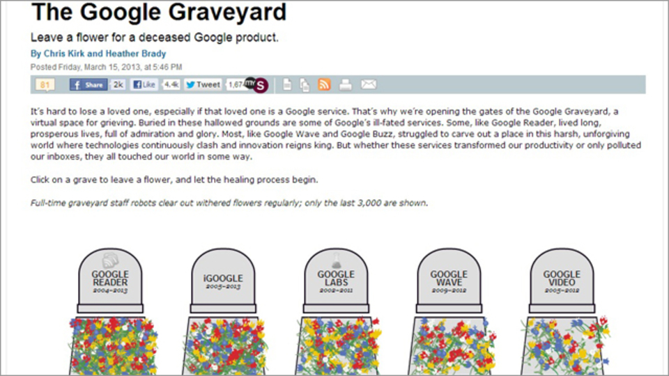 「R.I.P. Googleリーダー」~廃止されたGoogleサービスに献花をしよう!
