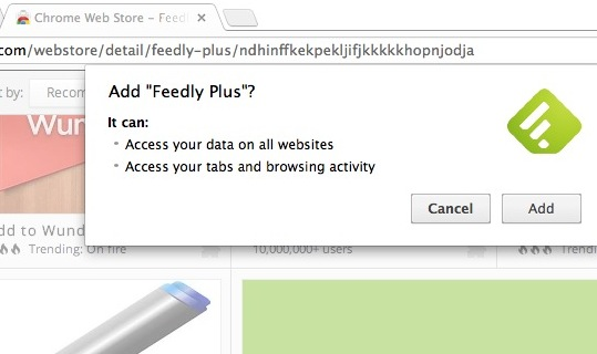 Chrome拡張機能Feedly Plusによるアクセス許可