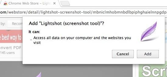 Chrome拡張機能Lightshotによるアクセス許可