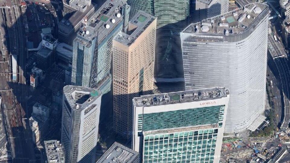 斜め45度になったGoogleマップで、ランドマークタワーとサンシャイン60の高さを比較してみた