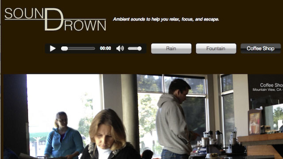 生産性を向上させるアンビエントノイズを手軽に再生できる「Soundrown」