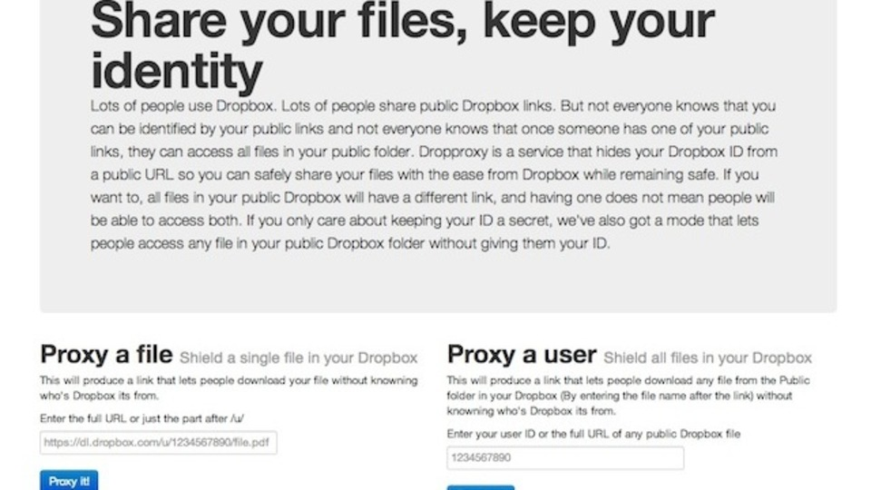 Dropboxからファイルを共有するときのユーザ名を非表示にしてくれる『Dropproxy』