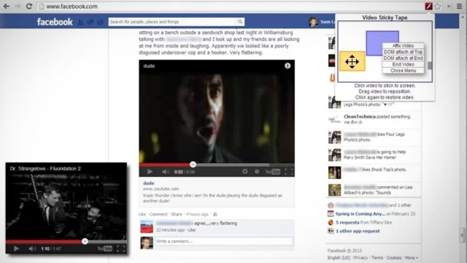 スクロールしてもそのまま動画を固定表示する拡張機能『Video Tape』