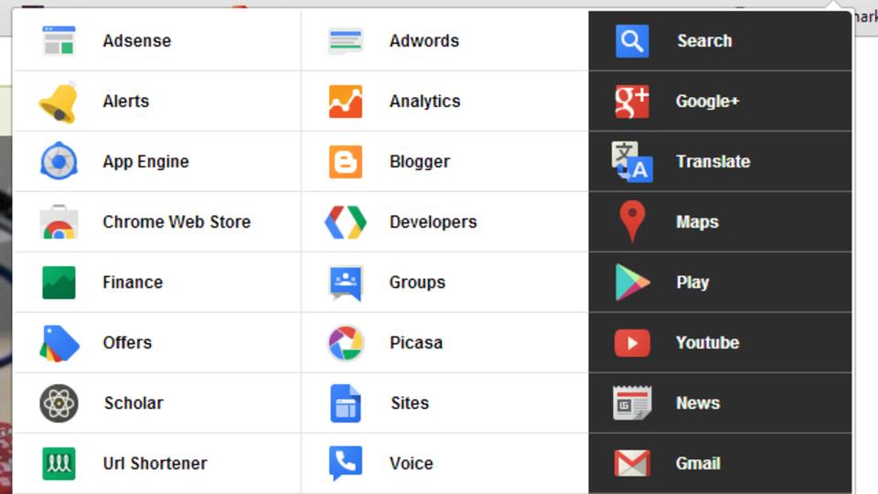 Google関連サービスへのショートカットをツールバーに表示する拡張機能『Black Menu』