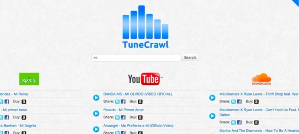 YouTubeやSoundCloudの音楽を横断検索できるサイト「TuneCrawl」