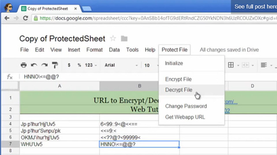 Googleドライブのスプレッドシートの内容を暗号化し、パスワードをかける方法