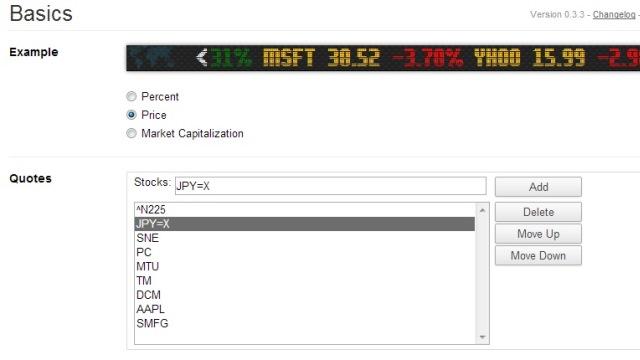 Chromeの拡張機能・Finance Toolbar設定画面
