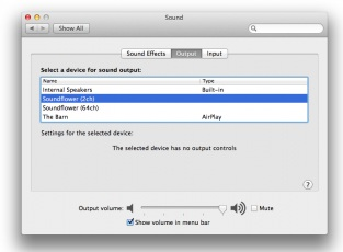 5.Macのサウンド出力をSoundflowerに設定する