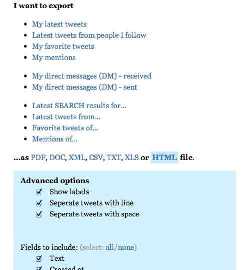 Twitterの情報をローカルに保存できるサービス「twDocs」の画面