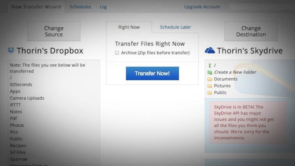 複数アカウントのクラウドストレージ同士でファイル転送できるウェブアプリ