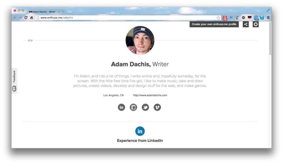 自分を売り込む営業ツールに使えるウェブページを無料&数分で作れる「Enthuse」