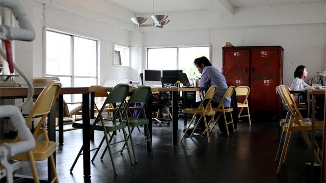 2階のオフィススペース。こちらはフリーデスク