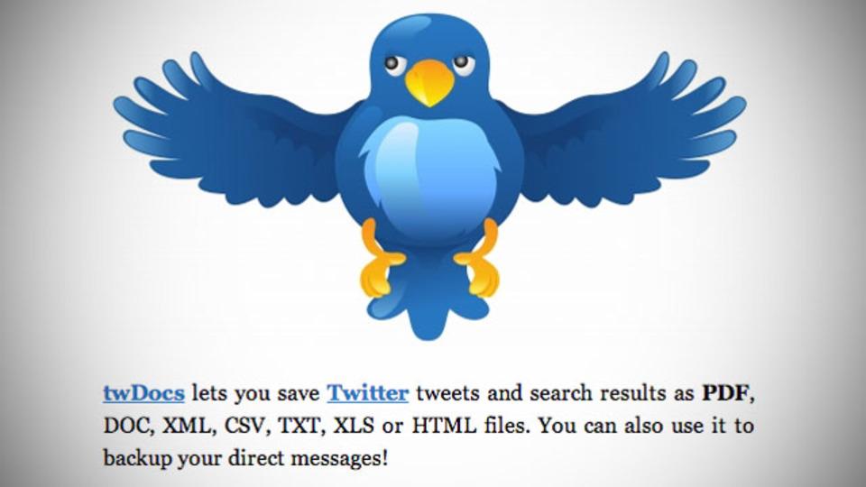 TwitterのツイートやDM、検索結果などをあらゆる形式でダウンロードできるサービス「twDocs」
