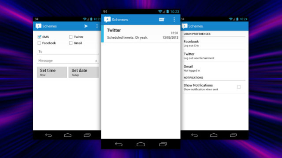 SMS、メール、Twitter、Facebookへのテキスト送信を同時にスケジュール設定できるアプリ