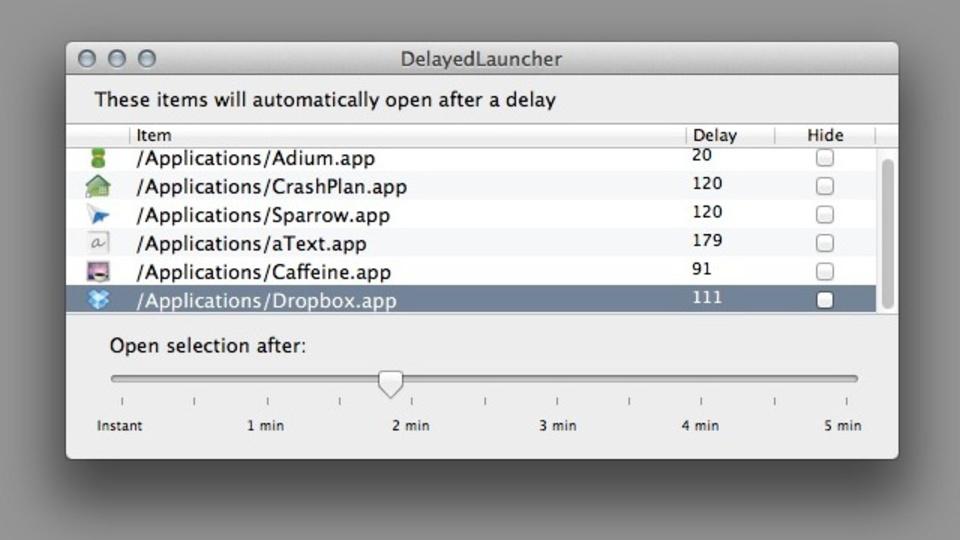 Macの起動が遅いなら、ログイン項目実行を調整する『DelayedLauncher』がおすすめ
