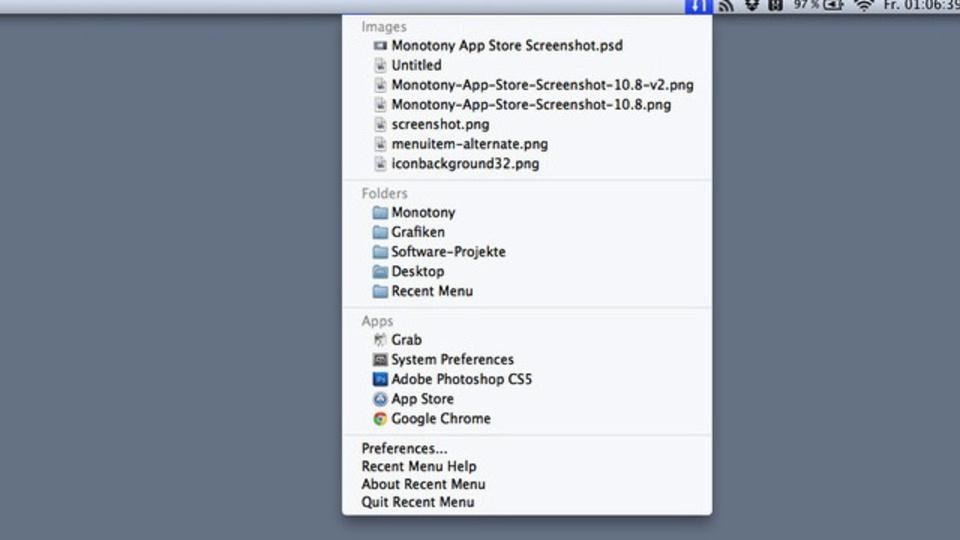 Macでのファイルへのアクセスが地味に便利に! 『Recent Menu』
