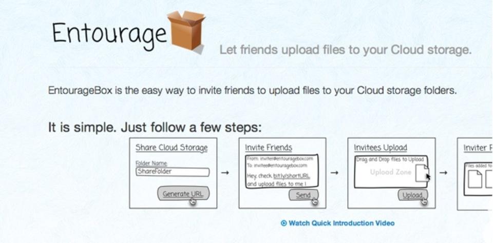 自分のDropboxやGoogle Driveに他人からファイルをアップロードしてもらえるサービス「Entourage」