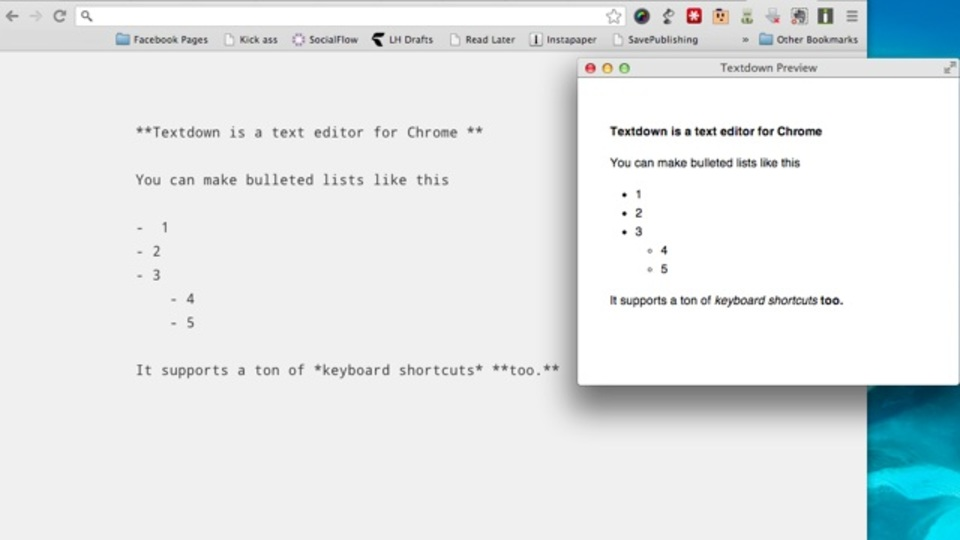 Chrome内でテキスト編集を完結できる! シンプルかつパワフルなテキストエディタ『Textdown』