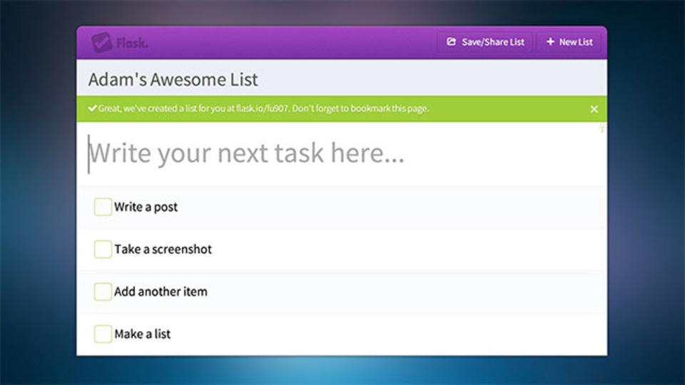 アカウントを作らなくてもウェブ上でToDoリストの作成/共有がすぐにできる「Flask」